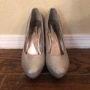 Silver Glitter Pump Heels